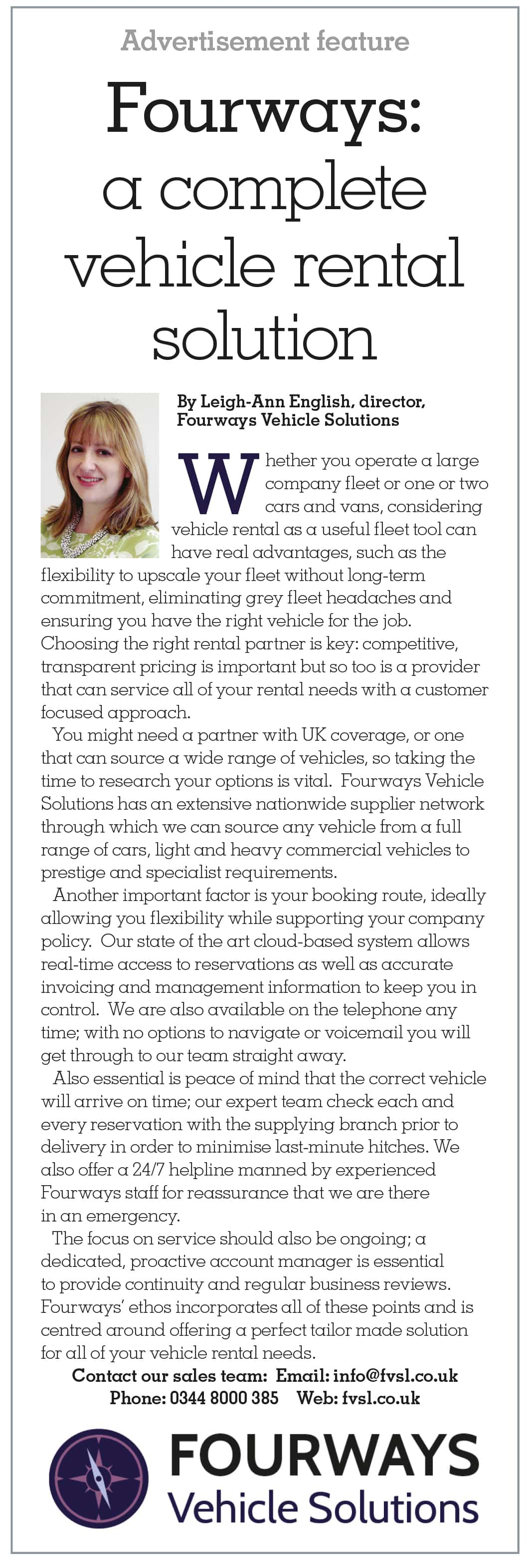 Fourways Solutions featured on Fleet News